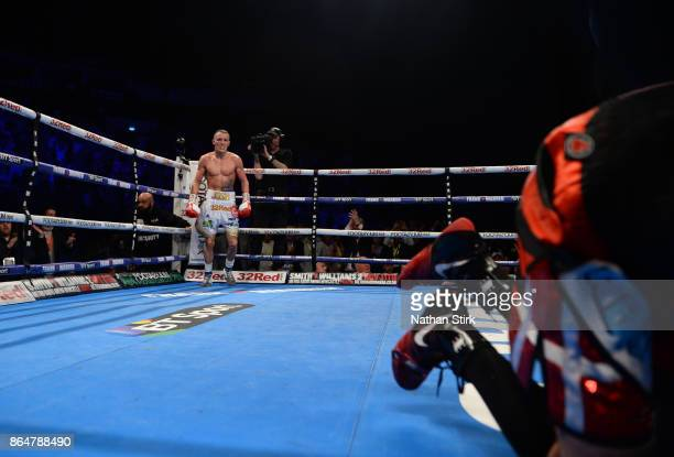 Josh Warrington looks on as he knocks Dennis Ceylan out during the IBF Featherweight World title fight at First Direct Arena Leeds on October 21 2017...