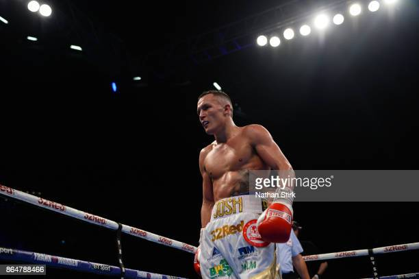 Josh Warrington looks on during the IBF Featherweight World title fight at First Direct Arena Leeds on October 21 2017 in Leeds England