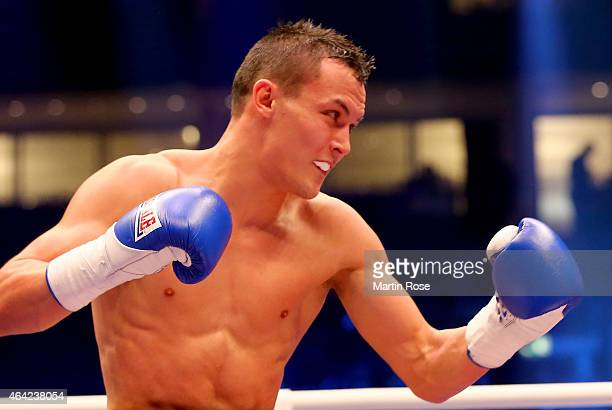 Josh Warrington of Great Britain in action during the feather weight fight at o2 World on February 21 2015 in Berlin Germany