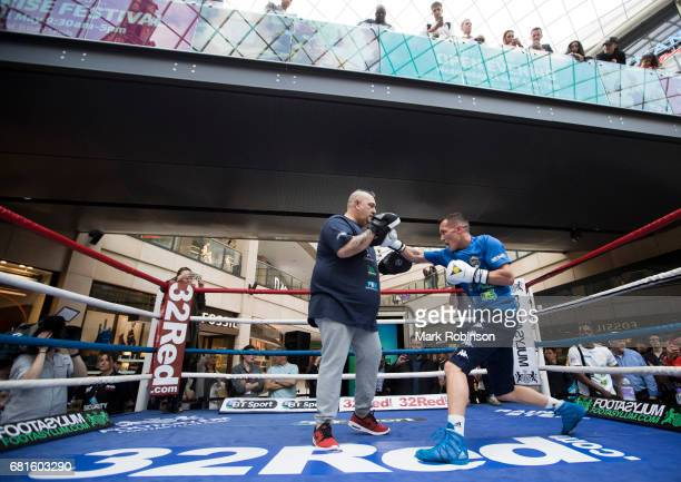 Josh Warrington takes part in a public workout on May 10 2017 in Leeds England