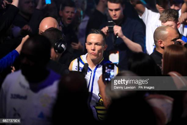 Josh Warrington walks out for his WBC International Featherweight Championship bout at the First Direct Arena Leeds