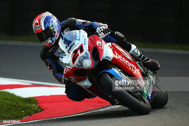 Josh Waters of Australia and Bennetts Suzuki in action during qualifying for the MCE British Superbike Championship at Cadwell Park on August 22 2015...
