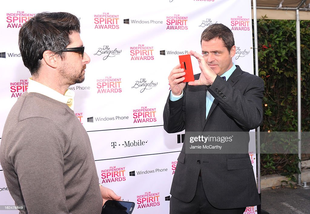 Josh Welsh (R), Co-President, Film Independent attends the 2013 Film Independent Spirit Awards After Party hosted by Microsoft Windows Phone at The Bungalow at The Fairmont Hotel on February 23, 2013 in Santa Monica, California.