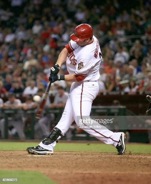 Josh Whitesell of the Arizona Diamondbacks gets his first major league hit during the game against the San Francisco Giants at Chase Field in Phoenix...