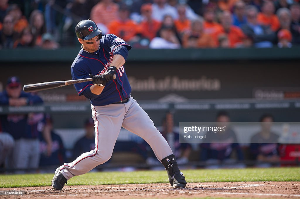 <a gi-track='captionPersonalityLinkClicked' href=/galleries/search?phrase=Josh+Willingham&family=editorial&specificpeople=537640 ng-click='$event.stopPropagation()'>Josh Willingham</a> #16 of the Minnesota Twins bats during the game against the Balttimore Orioles at Oriole Park at Camden Yards on April 5, 2013 in Baltimore, Maryland.
