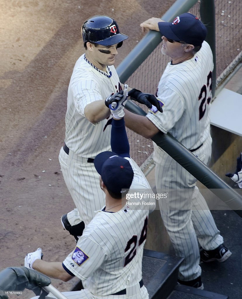 Josh Willingham #16 of the Minnesota Twins celebrates hitting a two run home run against the Texas Rangers during the sixth inning of the game on April 27, 2013 at Target Field in Minneapolis, Minnesota. The Twins defeated the Rangers 7-2.