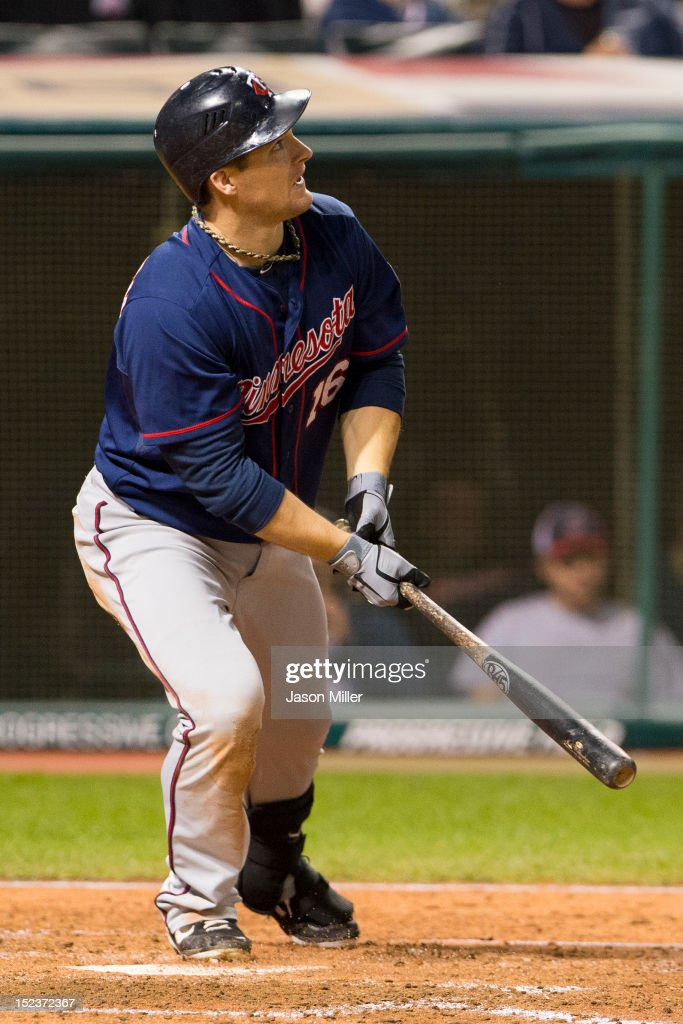 <a gi-track='captionPersonalityLinkClicked' href=/galleries/search?phrase=Josh+Willingham&family=editorial&specificpeople=537640 ng-click='$event.stopPropagation()'>Josh Willingham</a> #16 of the Minnesota Twins hits a two-run home run during the fifth inning against the Cleveland Indians at Progressive Field on September 19, 2012 in Cleveland, Ohio.