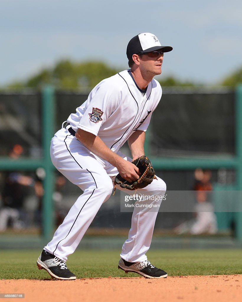 Josh Wilson #81 of the Detroit Tigers fields during the Spring Training game against the Baltimore Orioles at Joker Marchant Stadium on March 3, 2015 in Lakeland, Florida. The Tigers defeated the Orioles 15-2.