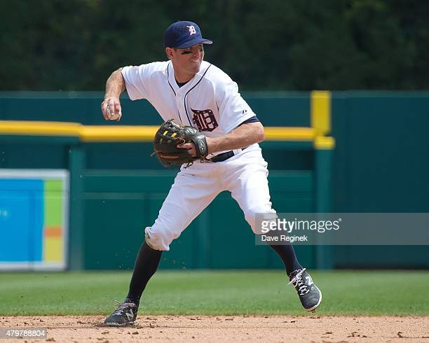 Josh Wilson of the Detroit Tigers makes a play at shortstop during a MLB game against the Toronto Blue Jays at Comerica Park on July 4 2015 in...