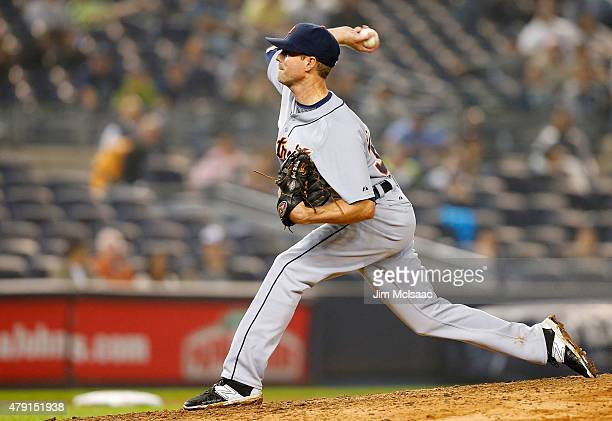 Josh Wilson of the Detroit Tigers pitches against the New York Yankees at Yankee Stadium on June 20 2015 in the Bronx borough of New York City The...