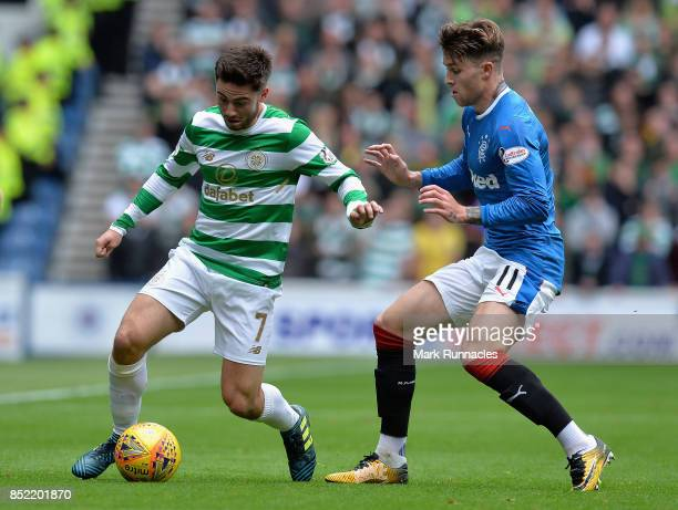 Josh Windass of Rangers puts pressure on Patrick Roberts of Celtic during the Ladbrokes Scottish Premiership match between Rangers and Celtic at...