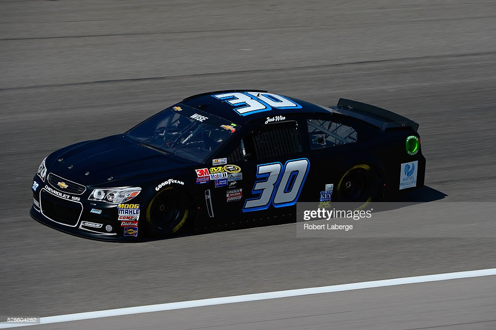 Josh Wise, driver of the #30 Curtis Key Plumbing Chevrolet, drives during practice for the NASCAR Sprint Cup Series Go Bowling 400 at Kansas Speedway on May 6, 2016 in Kansas City, Kansas.