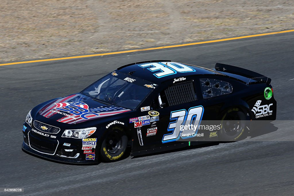 <a gi-track='captionPersonalityLinkClicked' href=/galleries/search?phrase=Josh+Wise+-+Race+Car+Driver&family=editorial&specificpeople=12854682 ng-click='$event.stopPropagation()'>Josh Wise</a>, driver of the #30 Curtis Key Plumbing Chevrolet, practices for the NASCAR Sprint Cup Series Toyota/Save Mart 350 at Sonoma Raceway on June 24, 2016 in Sonoma, California.