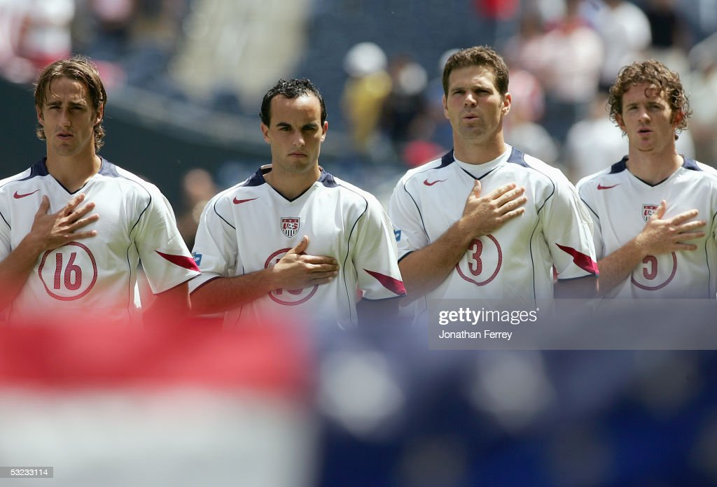 Josh Wolff#16, <a gi-track='captionPersonalityLinkClicked' href=/galleries/search?phrase=Landon+Donovan&family=editorial&specificpeople=171601 ng-click='$event.stopPropagation()'>Landon Donovan</a> #10, Greg Vanney #8, John O'Brien #5 of the United States line up for the singing of the national anthem prior to the game against Canada in the preliminary rounds of the CONCACAF Gold Cup on July 9, 2005 at Qwest Field in Seattle, Washington.