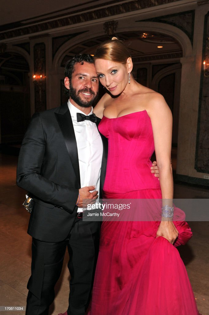 Josh Wood and Uma Thurman attend the 4th Annual amfAR Inspiration Gala New York at The Plaza Hotel on June 13, 2013 in New York City.