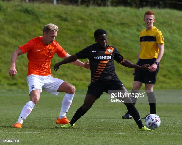 LR Josh Wright of Southend United and Fumnaya Shomoyun of Barnet during Central League Cup match between Barnet Under 23s and Southend United Under...