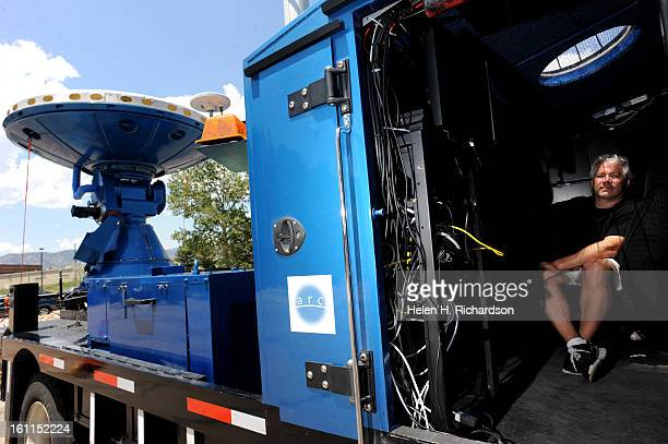 Josh Wurman President of the Center for Severe Weather Research and visiting scientist at NCAR sits inside his Doppler on Wheels radar van They use...