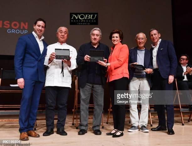 Josh Zagdanski Chef Nobu Matsuhisa Robert De Niro Nelly Zagdanski Meir Teper and Miguel Singer attend the Nobu Residences Toronto unveiling plans...