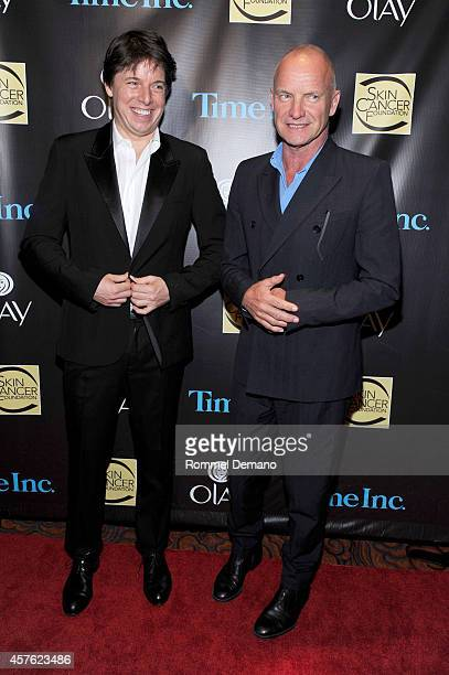 Joshua Bell and Singer Sting attend the Skin Cancer Foundation Gala at Mandarin Oriental Hotel on October 21 2014 in New York City