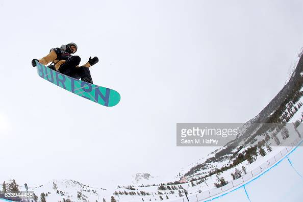 Joshua Bowman competes in the final round of the of the FIS Snowboard World Cup 2017 Men's Halfpipe during the Toyota US Grand Prix at Mammoth...