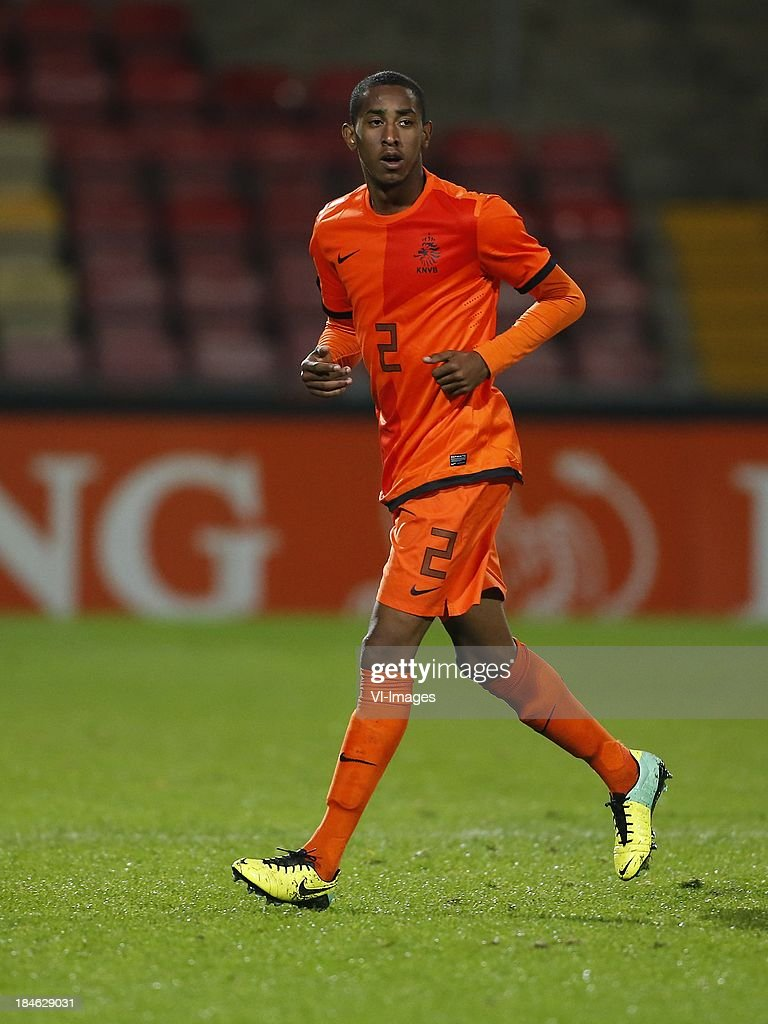 Joshua Brenet of Netherlands U21 during 2015 UEFA European U21 Championships Qualifier match between the Netherlands U21 and Austria U21 at the Adelaarshorst on Oktober 14, 2013 in Deventer, The Netherlands