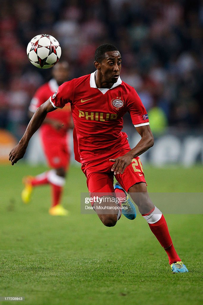 Joshua Brenet of PSV in action during the UEFA Champions League Play-off First Leg match between PSV Eindhoven and AC Milan at PSV Stadion on August 20, 2013 in Eindhoven, Netherlands.