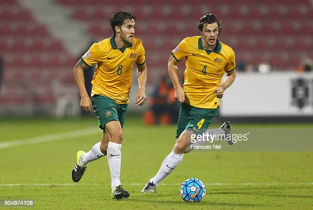 Joshua Brillante and James Donachie of Australia in action during the AFC U23 Championship Group D match between Australia and the United Arab...
