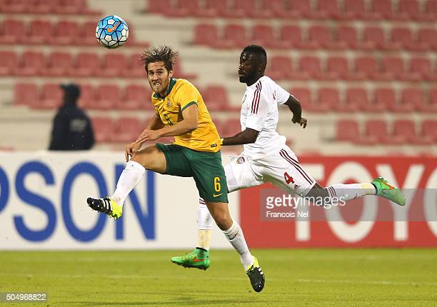 Joshua Brillante of Australia is challengedby Ahmed Barman of the United Arab Emirates during the AFC U23 Championship Group D match between...