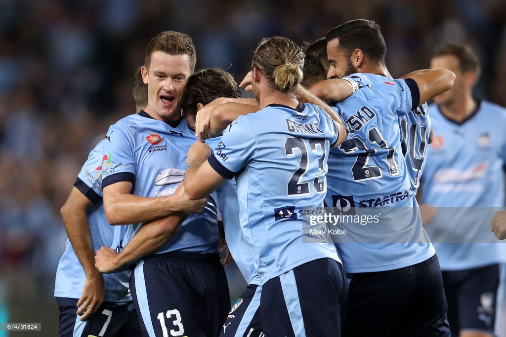 Joshua Brillante of Sydney FC celebrates with his team mates after scoring a goal during the A-League Semi Final match between Sydney FC and the Perth Glory at Allianz Stadium on April 29, 2017 in Sydney, Australia.