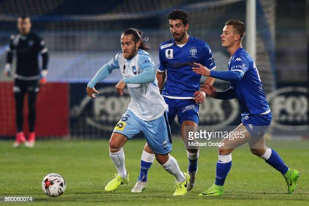 Joshua Brillante of Sydney FC controls the ball during the FFA Cup Semi Final match between South Melbourne FC and Sydney FC at Lakeside Stadium on...
