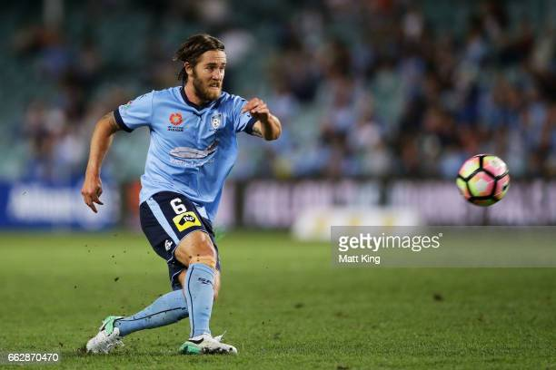 Joshua Brillante of Sydney FC controls the ball during the round 25 ALeague match between Sydney FC and Melbourne City FC at Allianz Stadium on April...