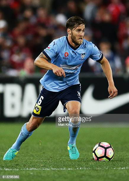 Joshua Brillante of Sydney FC controls the ball during the round one ALeague match between the Western Sydney Wanderers and Sydney FC at ANZ Stadium...