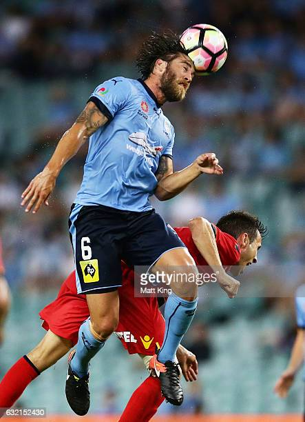 Joshua Brillante of Sydney FC heads the ball during the round 16 ALeague match between Sydney FC and Adelaide United at Allianz Stadium on January 20...