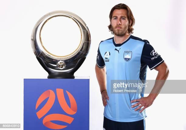Joshua Brillante of Sydney FC poses during the 2017/18 ALeague Season Launch at Port Melbourne SC on October 3 2017 in Melbourne Australia