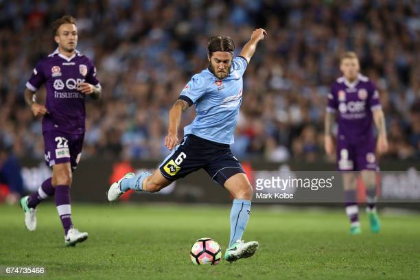 Joshua Brillante of Sydney FC scores a goal during the ALeague Semi Final match between Sydney FC and the Perth Glory at Allianz Stadium on April 29...