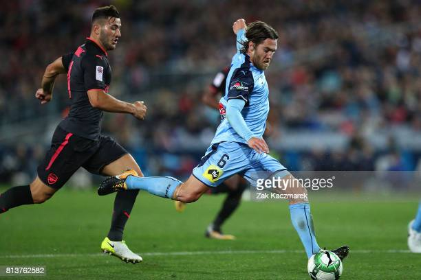 Joshua Brillante of Sydney FC shoots at goal during the match between Sydney FC and Arsenal FC at ANZ Stadium on July 13 2017 in Sydney Australia