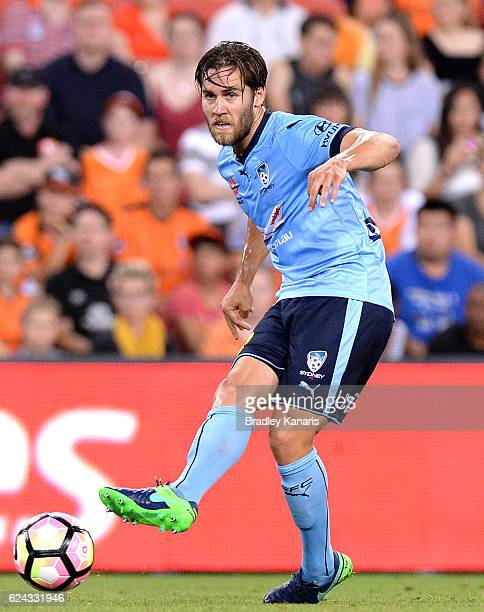 Joshua Brillante of Sydney passes the ball during the round seven ALeague match between the Brisbane Roar and Sydney FC at Suncorp Stadium on...