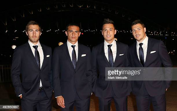 Joshua Brillante Tim Cahill Jason Davidson and Mathew Leckie arrive at the Australian Socceroos Official Farewell Dinner at Sydney Opera House on May...