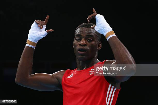 Joshua Buatsi of Great Britain celebrates beating Teymur Mammadov of Azerbaijan in the Men's Boxing Light Heavyweight 81kg round of 32 bout during...