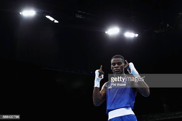Joshua Buatsi of Great Britain celewbrates winning over Eishoot Rasulov of Uzbekistan in their Mens Light Heavyweight bout on Day 6 of the 2016 Rio...
