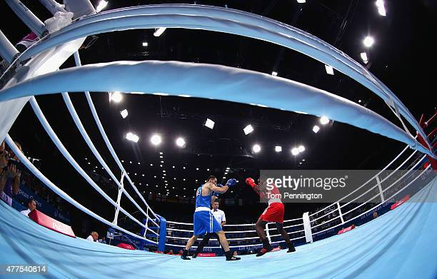 Joshua Buatsi of Great Britain compeates against Teymur Mammadov of Azerbaijan in the Men's Boxing Light Heavyweight 81kg round of 32 bout during day...