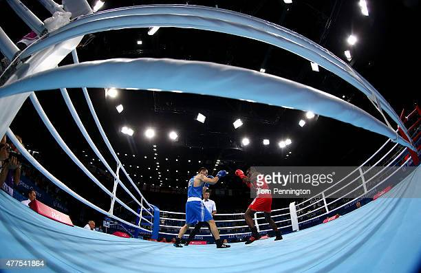 Joshua Buatsi of Great Britain competes against Teymur Mammadov of Azerbaijan in the Men's Boxing Light Heavyweight 81kg round of 32 bout during day...