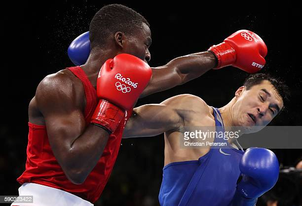 Joshua Buatsi of Great Britain fights against Adilbek Niyazymbetov of Kazakhstan during the Men's Light Heavy Semifinal 2 on Day 11 of the Rio 2016...