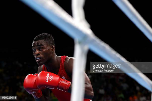 Joshua Buatsi of Great Britain looks on against Adilbek Niyazymbetov of Kazakhstan during the Men's Light Heavy Semifinal 2 on Day 11 of the Rio 2016...