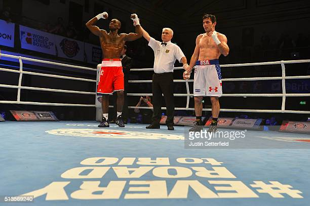 Joshua Buatsi of the British Lionhearts celebrates beating Souliman Abdourachidov of the USA Knockouts during there Super Heavyweight bout during the...
