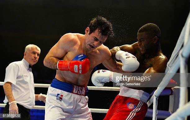 Joshua Buatsi of the British Lionhearts in action against Souliman Abdourachidov of the USA Knockouts during there Super Heavyweight bout during the...