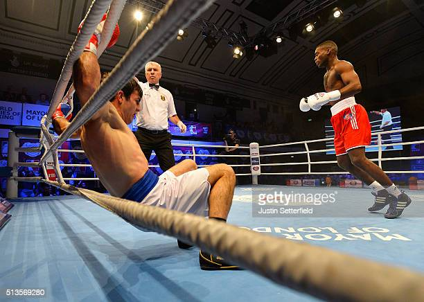 Joshua Buatsi of the British Lionhearts knocks out Souliman Abdourachidov of the USA Knockouts during there Super Heavyweight bout during the World...