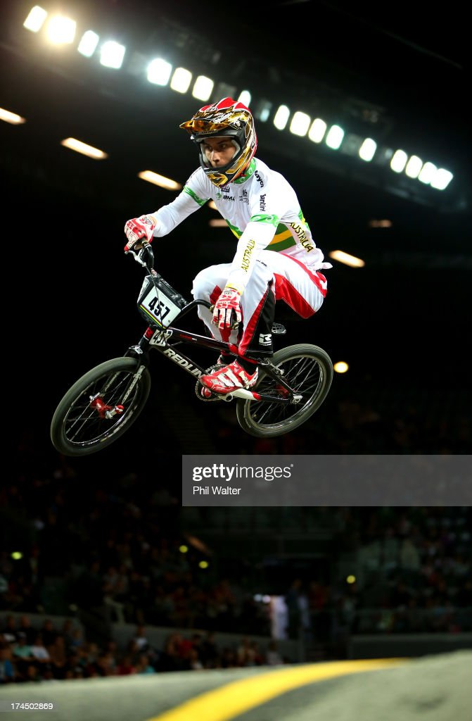 Joshua Callan of Australia competes in the Elite Mens time trial during day four of the UCI BMX World Championships at Vector Arena on July 27, 2013 in Auckland, New Zealand.