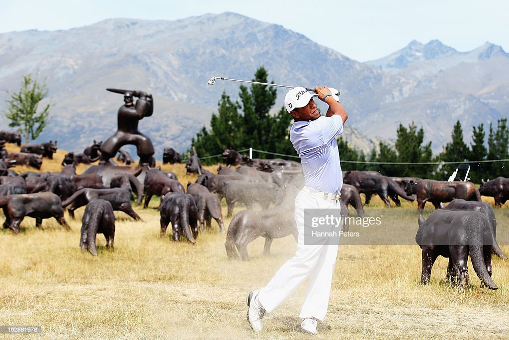 Joshua Carmichael of New Zealand plays a shot during day two of the NZ PGA Championship at The Hills Golf Club on March 1, 2013 in Queenstown, New Zealand.