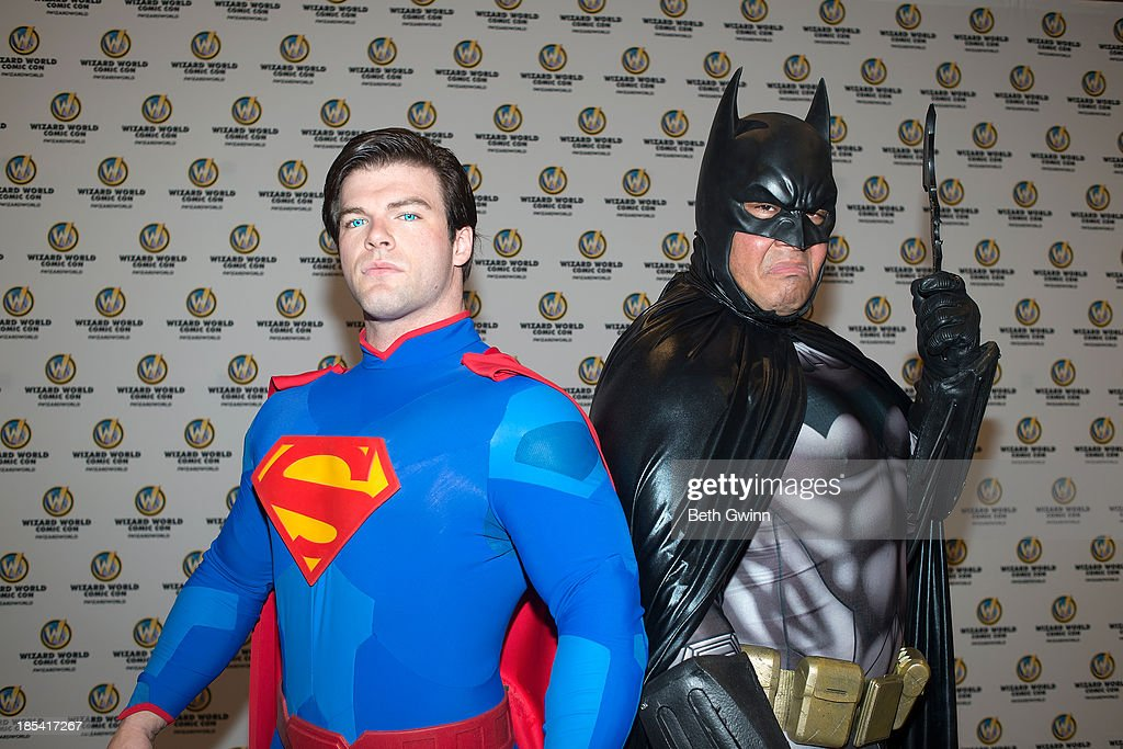 Joshua Carroll and Eric Moran as Superman and Batman attends Nashville Comic Con 2013 at Music City Center on October 19 2013 in Nashville Tennessee